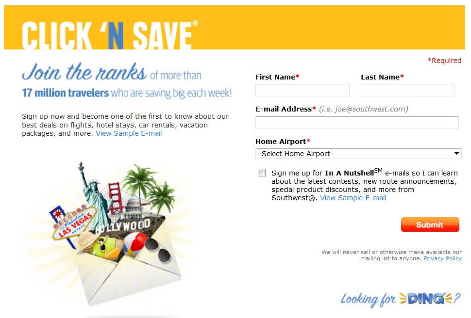 About once a month, you can find Southwest sales where all fares are up to 50% off or more. Discounted flights start at just $39, $49, or $59 per way. These prices are amazing and never require promo codes! So if you're looking for cheap flights, subscribe to Southwest coupon alerts so you're the first to learn about Southwest Airlines sale events.